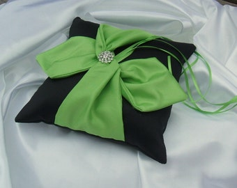 Knottie Ring Bearer Pillow with Rhinestone Accent...You Choose the Colors....Buy One Get One HALF OFF..shown in black/lime