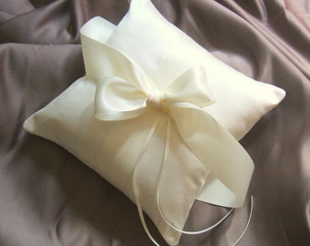 Pretty Dupioni Silk and Satin Ring Bearer Pillow and Flower Girl Basket Set..shown in ivory/ivory