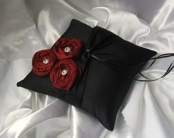 Dupioni Silk Flower Trio Ring Pillow with Rhinestone Accents...Shown in black/scarlett red..50 Plus Colors Available