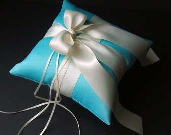 Romantic Satin Ring Bearer Pillow ...You Choose the Colors...Buy One Get One Half Off...shown in turquoise/ivory