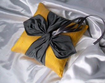 Dupioni Silk Knottie Ring Bearer Pillow...You Choose the Silk Colors....Buy One Get One HALF OFF...shown in canary yellow sunshine/pewter