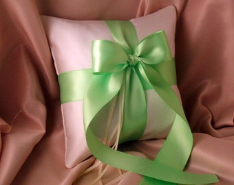 Romantic Satin Ring Bearer Pillow...You Choose the Colors...Buy One Get One Half Off...shown in ivory/mint green