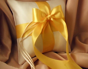 Romantic Satin Ring Bearer Pillow...You Choose the Colors...Buy One Get One Half Off...shown in ivory/canary yellow