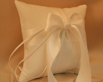 Romantic Satin Ring Bearer Pillow...You Choose the Colors...Buy One Get One Half Off...shown in white/white