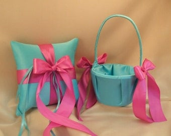 Custom Order for Bianca.. 2 Baskets/1 Pillow in turquoise/doll pink