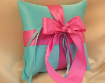 Romantic Satin Ring Bearer Pillow...You Choose the Colors...Buy One Get One Half Off...shown in turquoise/dark fuschia pink