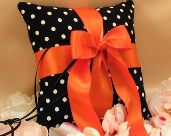 Romantic Polka Dots Ring Bearer Pillow ...You Choose the Colors.. Shown in Orange....Buy One Get One Half Off.