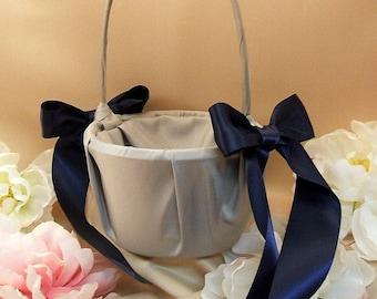 Custom Colors Satin Flower Girl Basket..BOGO Half Off..You Choose The Colors..Shown in silver gray/navy blue
