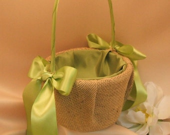 Rustic Earthy Burlap Flower Girl Basket with Satin Bows...BOGO HALF OFF... You choose the colors...shown in bright sage green/burlap