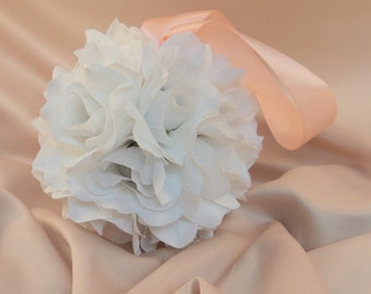 Set of 10 Deluxe 7 Inch Silk Flower Pomanders.. Best Value on Etsy for Large Set..You Choose The Colors...shown in white/peach