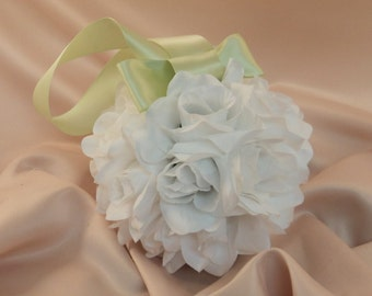Set of 10 Deluxe 7 Inch Silk Flower Pomanders ..You Choose The Colors...shown in white/light sage green