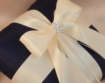 Romantic Satin Elite Ring Bearer Pillow...You Choose the Colors...Buy One Get One Half Off...shown in navy blue/ivory