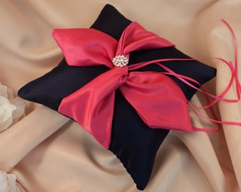 Knottie Ring Bearer Pillow with Vibrant Rhinestone Accent...You Choose the Colors....BOGO Half Off..shown in navy blue/fuschia hot pink