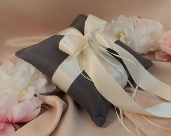 Romantic Satin Ring Bearer Pillow...You Choose the Colors...Buy One Get One Half Off...shown in pewter gray/ivory