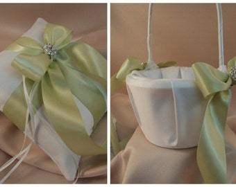Custom Colors Satin Elite Ring Bearer Pillow and Flower Girl Basket Set...You Choose the Colors...shown in white/light sage green