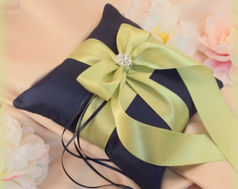 Romantic Satin Elite Ring Bearer Pillow...You Choose the Colors...Buy One Get One Half Off...shown in navy blue/apple green