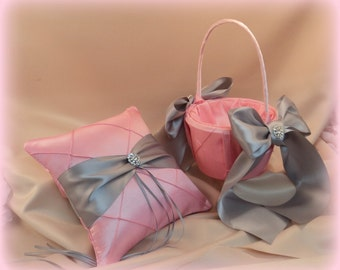 Pintuck Taffeta Diamonds Ring Bearer Pillow  and Flower Girl Basket Set.Many Colors Available..shown in pink/silver gray