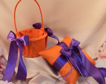 Custom Colors Flower Girl Basket and Romantic Satin Ring Bearer Pillow Combo...You Choose the Colors....shown in orange/purple