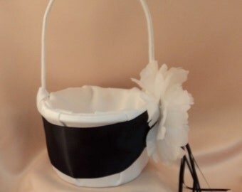 Romantic Peony Bloom Flower Girl Basket with Crystal Rhinestone Accents..shown in white/black