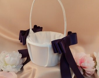 Triple Bow Satin Flower Girl Basket...You Choose Your Colors..BOGO Half Off..shown in white/eggplant deep purple