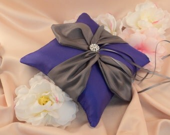 Knottie Ring Bearer Pillow with Rhinestone Accent...You Choose the Colors....Buy One Get One HALF OFF..shown in royal purple/pewter gray