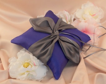 Knottie Ring Bearer Pillow...You Choose the Colors....Buy One Get One HALF OFF...shown in royal purple/ charcoal gray