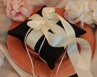 Romantic Satin Elite Ring Bearer Pillow...You Choose the Colors...Buy One Get One Half Off...shown in black/ivory