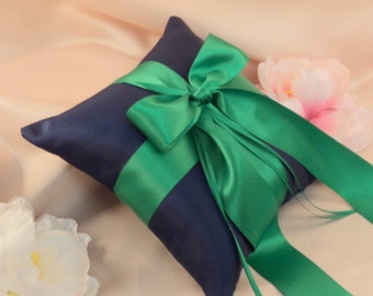 Romantic Satin Ring Bearer Pillow...You Choose the Colors...Buy One Get One Half Off...shown in navy blue/emerald green