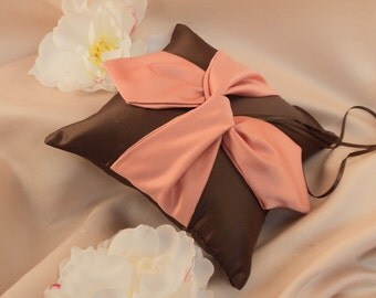 Knottie Ring Bearer Pillow...You Choose the Colors....Buy One Get One Half Off...shown in chocolate brown/coral