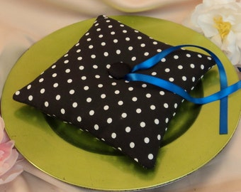 Simple Tufted Polka Dots Ring Bearer Pillow...You Choose the Accent Colors....BOGO Half Off..shown in royal blue