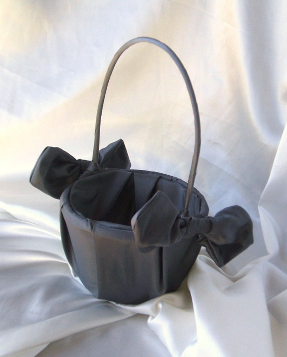 Knottie Satin Flower Girl Basket..Many Colors Available....BOGO Half Off..shown in all charcoal