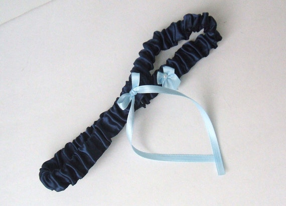 Simple Satin Bridal Garter with BONUS Something Blue..You Choose The Colors..shown in navy blue / light blue