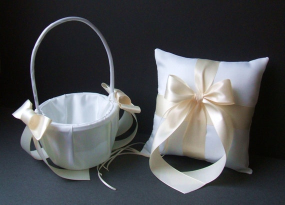 Custom Colors Flower Girl Basket and Romantic Satin Ring Bearer Pillow Combo...You Choose The Colors...shown in white/ivory