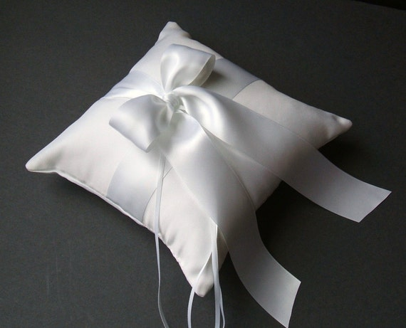 Romantic Satin Ring Bearer Pillow ...You Choose the Colors..Buy One Get One Half Off...shown in white/white
