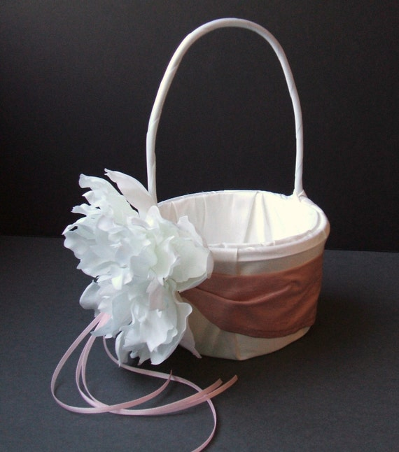 Romantic Peony Bloom Dupioni Silk Flower Girl Basket with Rhinestone Accent..Over 50 Silk Colors To Choose From..shown in white/dusty pink