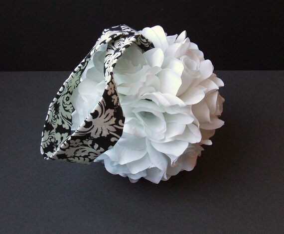 Set of 10 Deluxe 7 Inch Silk Flower Pomanders with Waverly Damask Handle.. You Choose The Flower Color..
