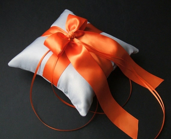 Romantic Satin Ring Bearer Pillow...You Choose the Colors...Buy One Get One Half Off...shown in silver/orange