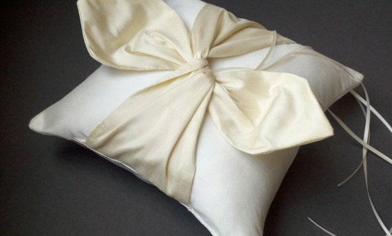 Dupioni Silk Knottie Ring Bearer Pillow...You Choose the Silk Colors....Buy One Get One Half Off...shown in light ivory / cream ivory