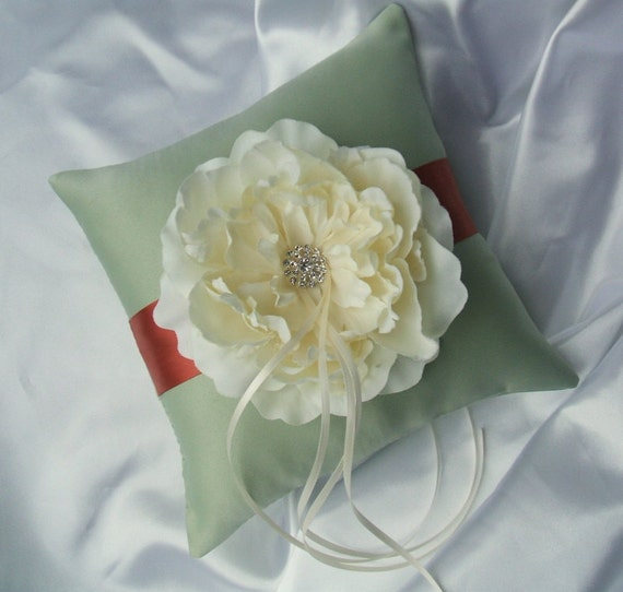 Romantic Bloom Ring Bearer Pillow with Crystal Rhinestone Accents..shown in celedon/burnt orange/ivory