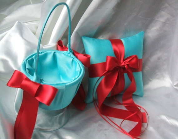 Custom Colors Flower Girl Basket and Romantic Satin Ring Bearer Pillow Combo...You Choose the Colors....shown in tiffany blue/red