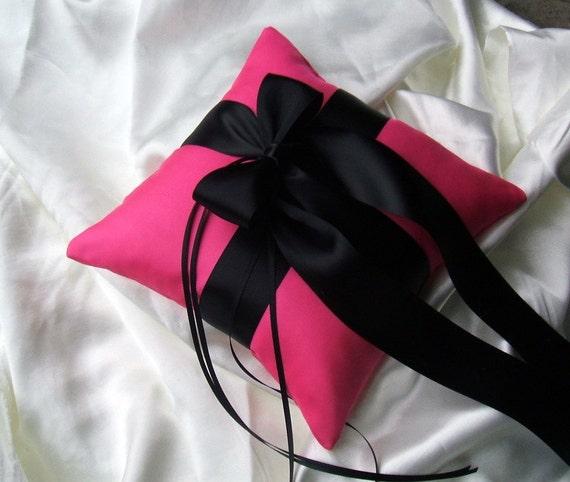 Romantic Satin Ring Bearer Pillow ...You Choose the Colors.. Shown in hot pink fuschia/black...BOGO Half Off