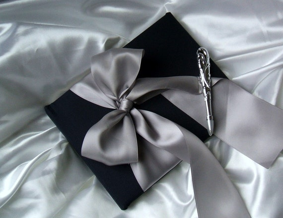 Simple Elegance Satin Guestbook Set..You Choose the Colors..Shown in Navy Midnight Blue/Silver