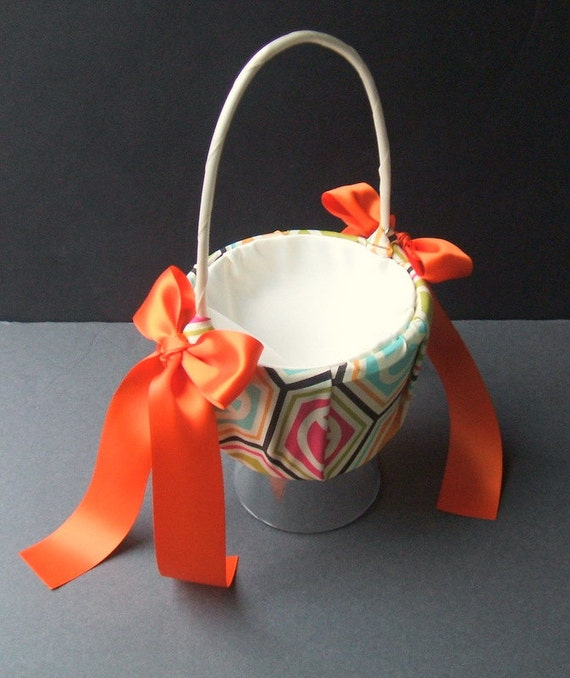 Custom Colors Flower Girl Basket Pattern Collection..BOGO Half Off..Customizeable..Shown in spring peace sign/orange