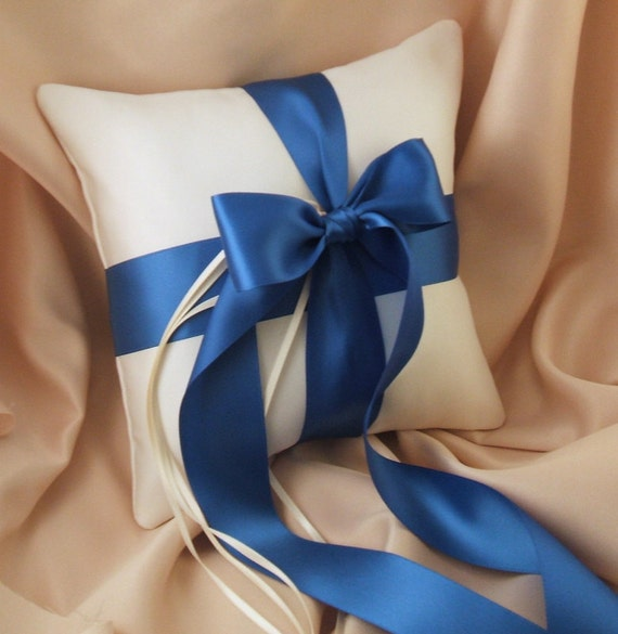 Romantic Satin Ring Bearer Pillow...You Choose the Colors...Buy One Get One Half Off...shown in ivory/royal blue