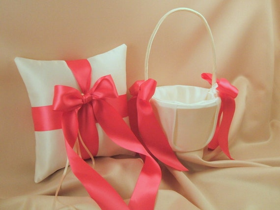 Custom Colors Flower Girl Basket and Romantic Satin Ring Bearer Pillow Combo...You Choose the Colors....shown in ivory/hot pink