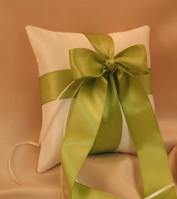 Romantic Satin Ring Bearer Pillow...You Choose the Colors...Buy One Get One Half Off...shown in ivory/bright sage green