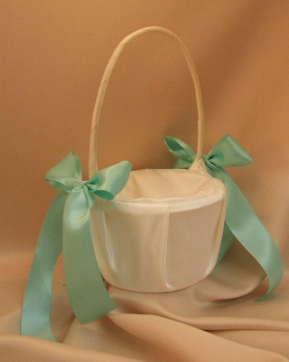 Custom Colors Satin Flower Girl Basket..BOGO Half Off..You Choose The Colors..Shown in ivory/aqua