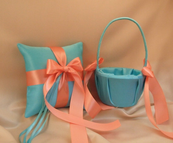 Custom Colors Flower Girl Basket and Ring Bearer Pillow Combo...You Choose the Colors....shown in turquoise/coral