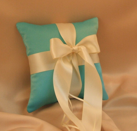 Romantic Satin Ring Bearer Pillow...You Choose the Colors...Buy One Get One Half Off...shown in turquoise/ivory
