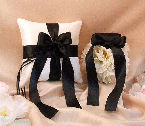 Romantic Satin Ring Bearer Pillow & Pretty Peony Pomander Set...You Choose The Colors..shown in ivory/black
